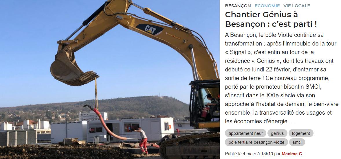 Chantier Génius à Besançon, pôle Viotte