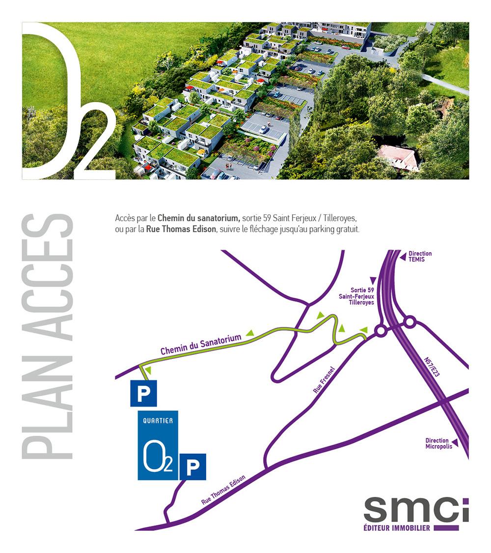 Plan d'accès du Quartier O2 aux Tilleroyes