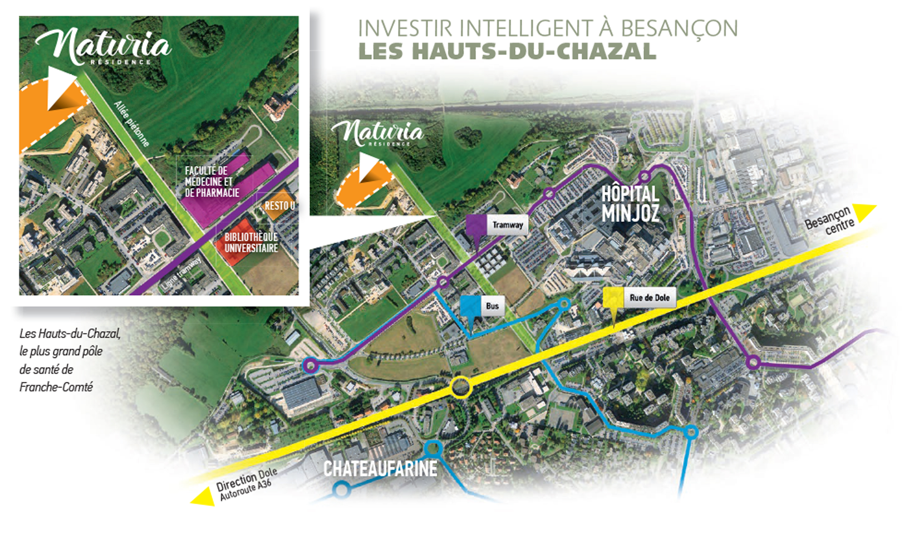 Situation résidence Naturia Hauts-du-Chazal