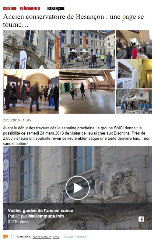 Ancien Conservatoire de Besançon : une page se tourne...